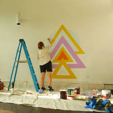 geometric wall mural diy popsugar home