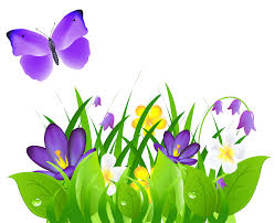purple flowers grass and butterfly png clipart picture clipart
