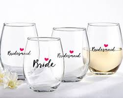 stemless wine glasses wedding favors and bridesmaids pink 15 oz stemless wine glass set