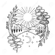symbolism trees tattoo style illustration of a day and night symbolism with sun