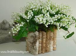 natural birch bark wood vases wedding flower pot bridal