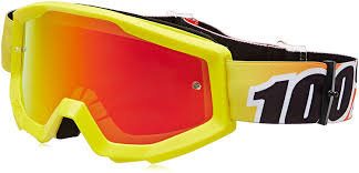 motocross goggles usa outlet buy amazon com 100 strata mx goggles mirror lens sunny days yellow