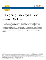 example 2 week notice resignation letter sample two weeks notice
