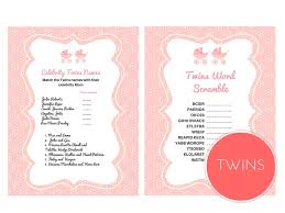 twin girls baby shower games magical printable