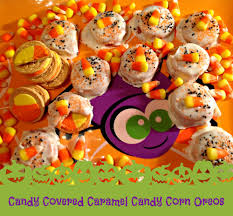candy covered caramel candy corn oreos halloween cookies recipe