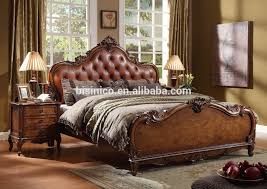 american style solid wood king size leather bed wooden veneer bed