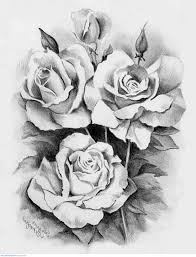 awesome black and white three roses design