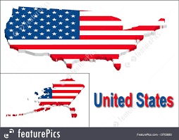United States Map Clip Art by United States Map With Flag Illustration