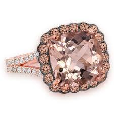 pink morganite pink morganite chagne brown diamond halo gold rng