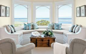 beautiful living room for beach theme with excellent bay window