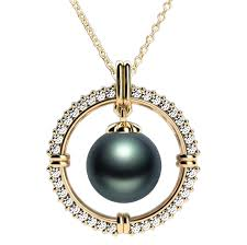 diamond pearl pendant necklace images Tahitian pearl pendant with diamond frame in yellow gold momento png