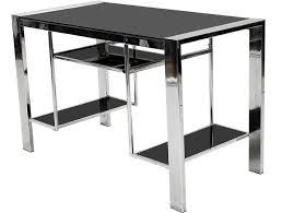 Black And Chrome Computer Desk Black Glass Corner Computer Desk Home Design Ideas