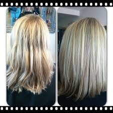 freshened up with blended blonde highlights and a long bob haircut
