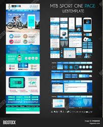 one page sport website flat ui vector u0026 photo bigstock