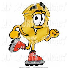sports clip art of a gold police badge mascot cartoon character