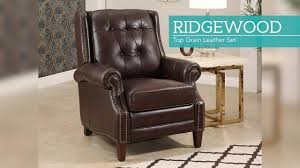 costco deal synergy home furnishings monica recliner ridgewood top grain pushback recliner video gallery