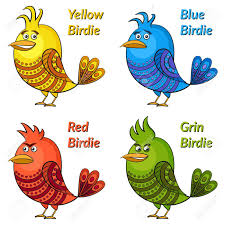 funny colors set of funny colorful birds of different colors and moods blue