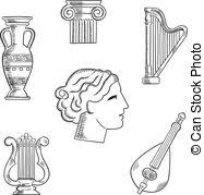 clip art vector of musical instruments sketches for arts design