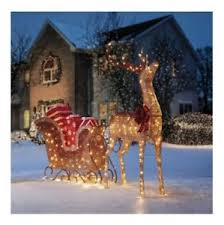 6 ft pre lit outdoor santa sleigh reindeer led lighted yard