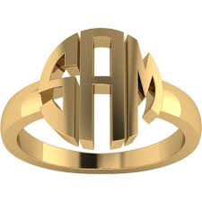 Monogram Rings Gold Solid Letter Styled Personalized Monogram Name Ring In Gold Plating