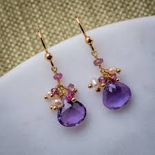 amethyst drop earrings amethyst pearls and quartz earrings by mishanto london