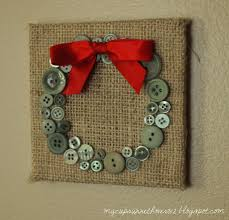 christmas decor or gift burlap with buttons in a holiday shape