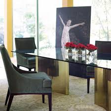 ellen modern sleek gold double pedestal glass dining table kathy