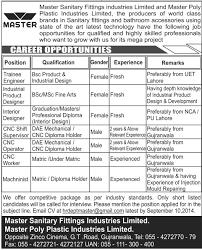 Bathroom Fittings In Pakistan Trainee Engineer Job In Master Sanitary Fittings Industries
