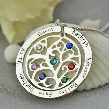 personalized family tree necklace birthstone family tree necklace personalized necklace engraved