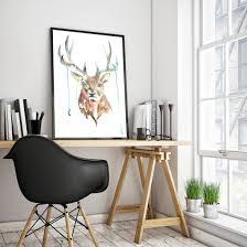 deer head home decor deer watercolor painting deer antlers art print mens gift