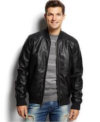 leather cycle jacket guess faux leather bomber jacket in black for men lyst