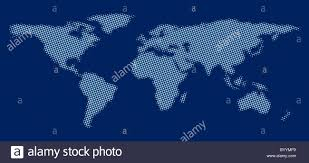 Dark Sky Map World Map Made Of Blue Dots Against Dark Blue Background Stock