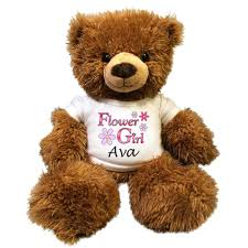 flower girl teddy personalized flower girl teddy 14 fuzzy brown say it