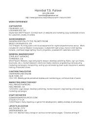 Sample Resume For Work Experience by Audio Engineer Sample Resume Haadyaooverbayresort Com