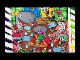 speed coloring thanksgiving with spongebob squarepants