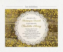 chagne brunch invitations rustic bridal brunch invitation gold glitter chagne brunch