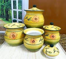 sunflower canisters for kitchen ack kitchen canister sets ebay