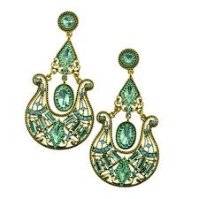 Costume Chandelier Earrings Green Chandelier Earrings