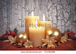 Advent Decorations Burning Candle Decoration Green Banco De Imagens Imagens E