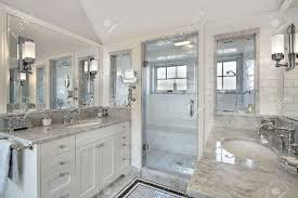 master bath in luxury home with windowed shower stock photo master bath in luxury home with windowed shower stock photo 6738390
