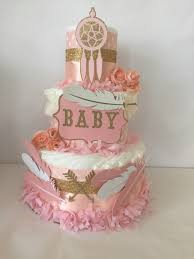 Pink And Gold Baby Shower Decorations by Pink And Gold Tribal Diaper Cake Tribal Theme Baby Shower