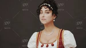 queen film details beautiful woman standing in old historical 18th century royal dress