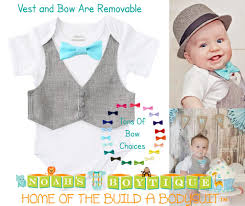 baby boy clothes grey vest bow tie cake smash easter shirt