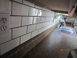 Grouting Kitchen Backsplash Design Beveled White Subway Tile Grey Grout With Gray S Home