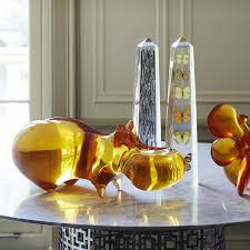 acrylic orange hippo sculpture modern decor jonathan adler
