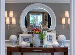 Entry Console Table With Mirror Symmetrical Console Table Display With Mirror Decorate