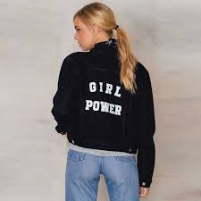 fashion power short denim jacket women long sleeve black