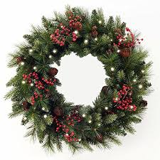 lighted christmas wreath cordless led pre lit cone berry christmas wreath