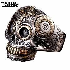 silver rings skull images Zabra luxury solid 925 sterling silver skull ring men vintage punk jpg