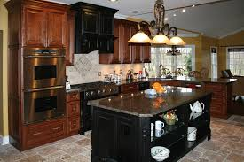 KitchensL Distressed Cherry Kitchen Cabinets Travertine Tile - Images of kitchens with cherry cabinets
